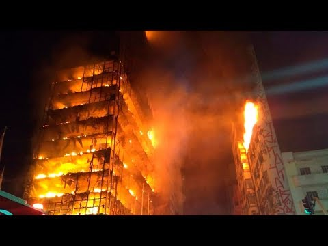 Brazil highrise fire causes building to collapse