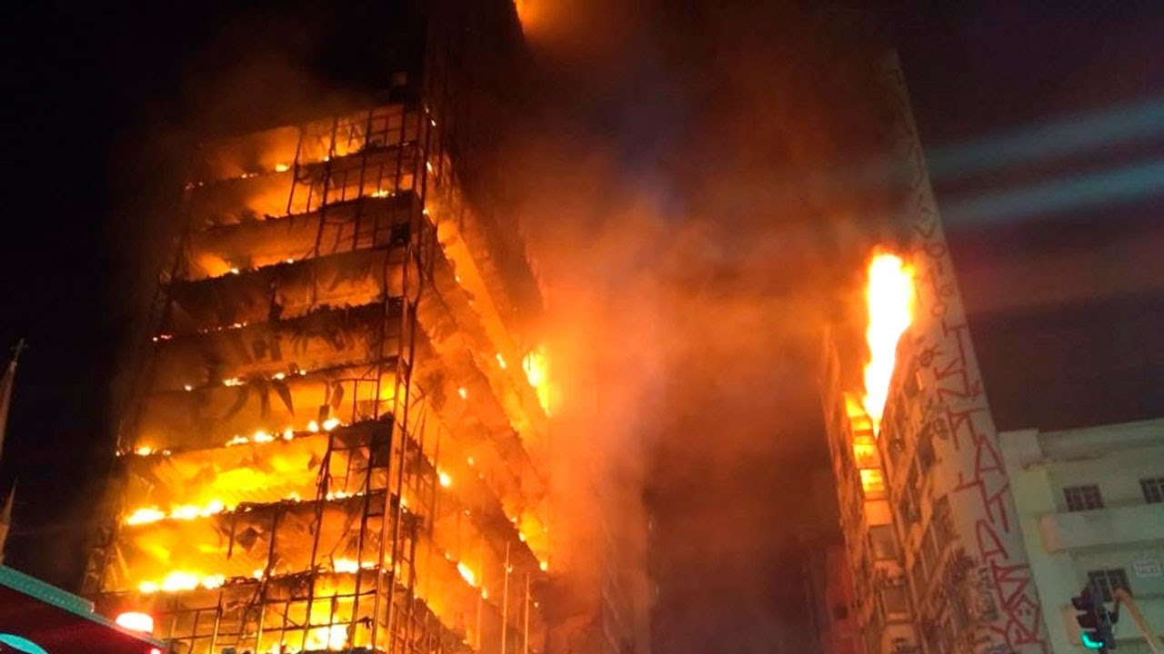 Brazil Highrise Fire Causes Building To Collapse Youtube