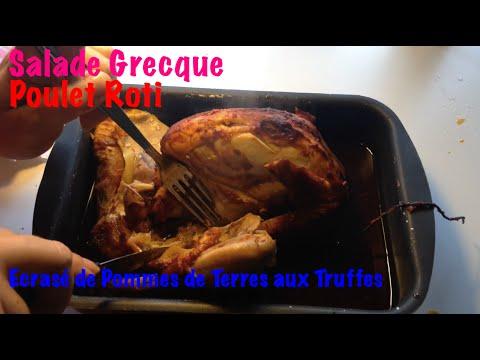 1-entrée-et-1-plat-:-salade-grecque,-poulet-roti-et-écrasé-de-pommes-de-terre
