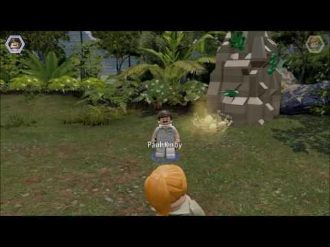 Lego Jurassic World. Paul Kirby & Velociraptor find a Gold Brick, Jurassic Park.
