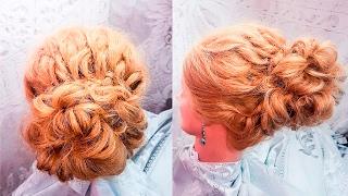 Прически  Высокая прическа с элементами косы.Жгуты из локонов волос hair свадебный стиль hairstyles