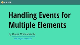 Handling Events for Multiple Elements