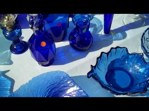 Blue Lady's Depression Era Cobalt Blue Glass and Other Collectibles at the Ohlone Fair, Fremont California USA
