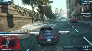 NFS: Most Wanted - Audi R8 GT Spyder Speed Run - Downtown Run (160 mph)