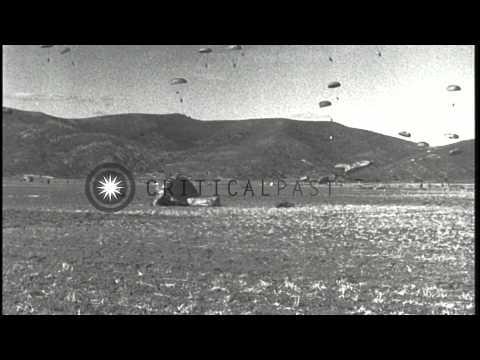 187th Airborne Regimental Combat Team in massive troop drop near K-2 (Taegu) duri...HD Stock Footage
