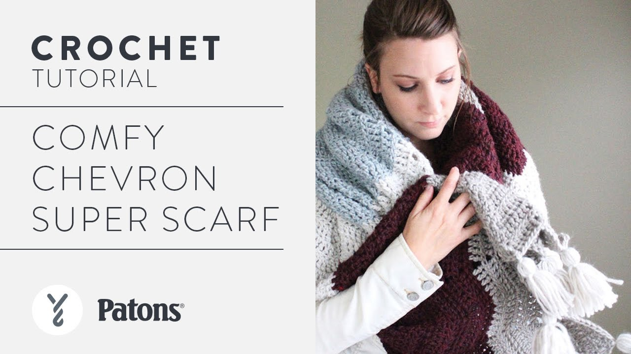 How to Crochet: Comfy Chevron Super Scarf - YouTube