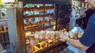 Grilling Pork Knuckles. German Street Food