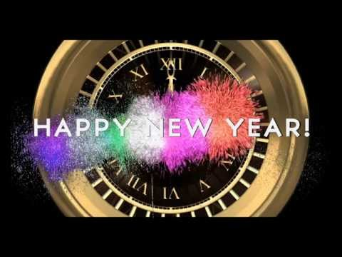 HAPPY NEW YEAR COUNTDOWN CLOCK ( v 204 ) Timer with sound Effects + Fireworks 2018 4k