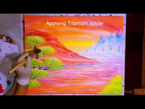 Orange Paradise – Part 3 – The Green Tree! Acrylic Painting Tutorial Step by Step
