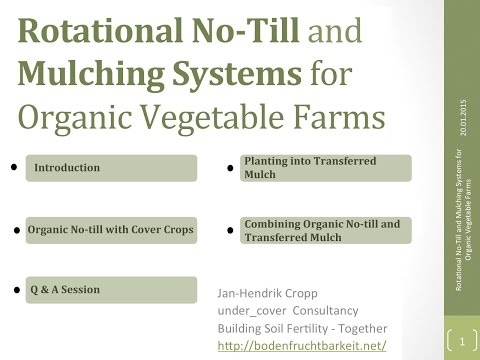 Rotational No-till and Mulching Systems for Organic Vegetabl