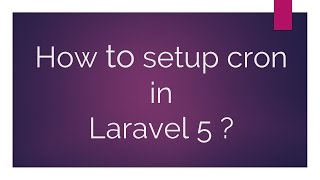 How to setup CRON in laravel 5?