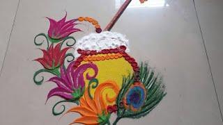 KRISHNA JANMaSHTAMI Special Rangoli design made by Jyoti Raut Rangoli