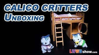 Calico Critters Fisher Cat Twins Cc1641 Calico Critters Sister's Loft Bed Cc2618 Unboxing Ep 23