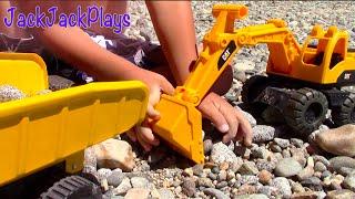 Toy Trucks for Kids - Beach Playtime JackJackPlays Tahoe Vacation 5 - Excavator Dump Trucks