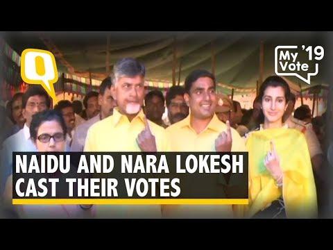 TDP's Chandrababu Naidu And Nara Lokesh Cast Their Votes in Amaravati   The Quint