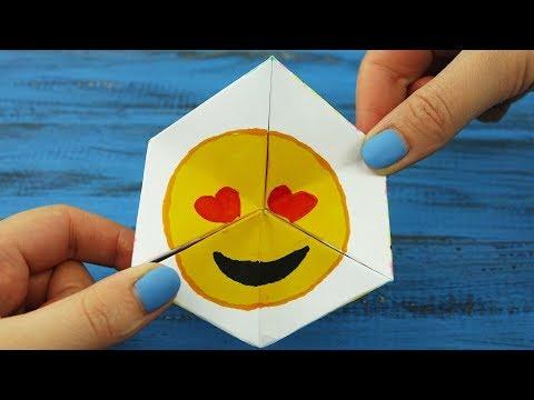 Emoji (Heart Eyes) Funny Paper Game with Fluttershy SeaPony, Pusheen Unicorn   Hexaflexagon Tutorial