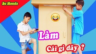 Làm nhà carton cho bé - Make house from carton boxes
