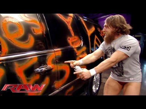 Daniel Bryan defaces Randy Orton's new car with spray paint: Raw, August 26, 2013