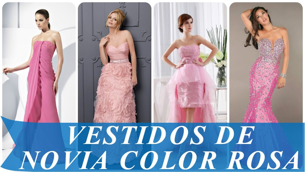 Vestidos de novia color rosa - YouTube