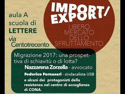 Import / Export - Migrazione 2017: Schiavitù o lotta? Commenti e domande