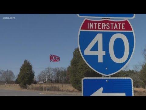 Burke County group raises Confederate flag along I-40