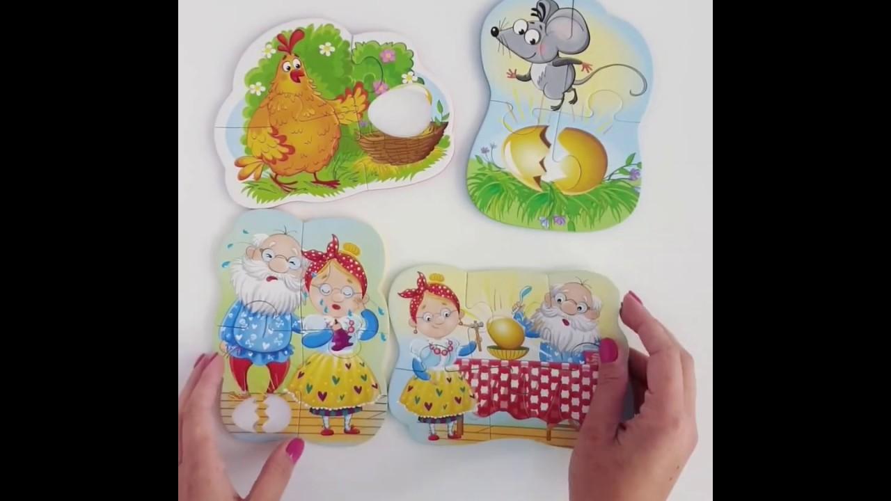 Vladi Toys VT1106-61 Мягкие пазлы Baby puzzle Сказки Курочка ряба