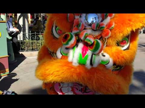 Disneyland Lunar New Year year of the monkey DRAGON DANCE.