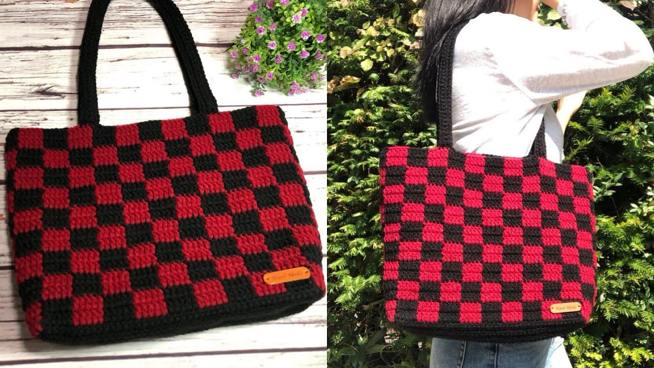 [Eng sub] Crochet handbag | Móc túi xách hoạ tiết kẻ ô vuông