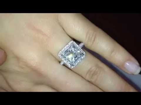 4 carat princess cut diamond engagement ring with 1 youtube. Black Bedroom Furniture Sets. Home Design Ideas