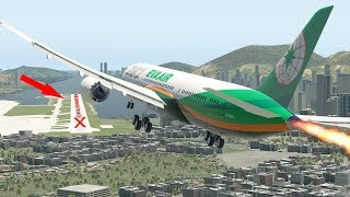 X-Plane 11 | Difficult Landing At Kai Tak Airport - Almost Crash Into The Mountain