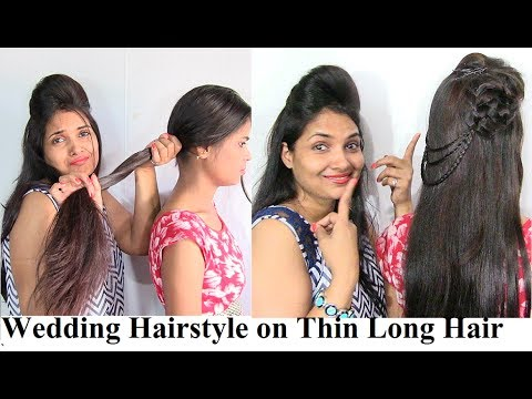 Wedding Hairstyle On Thin Long Hair   Indian Wedding Hairstyles Video