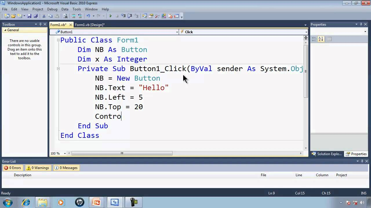 Visual Basic Express 2010 Tutorial 40 Dynamically Making Objects -  EZInvaders Part 9 Game