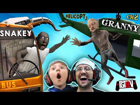 GRANNY & Grandpa Vs. HELICOPTER Exclusive Ending!  FGTeeV Boys Vs SNAKEY BUS! (2-in-1 Games)