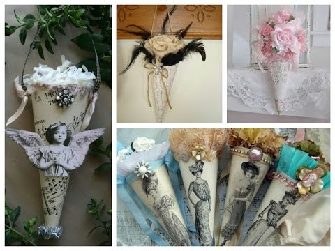 tussie-mussie-vintage-decor-ideas---shabby-shic-crafts-inspiration---paper-cone-crafts-ideas