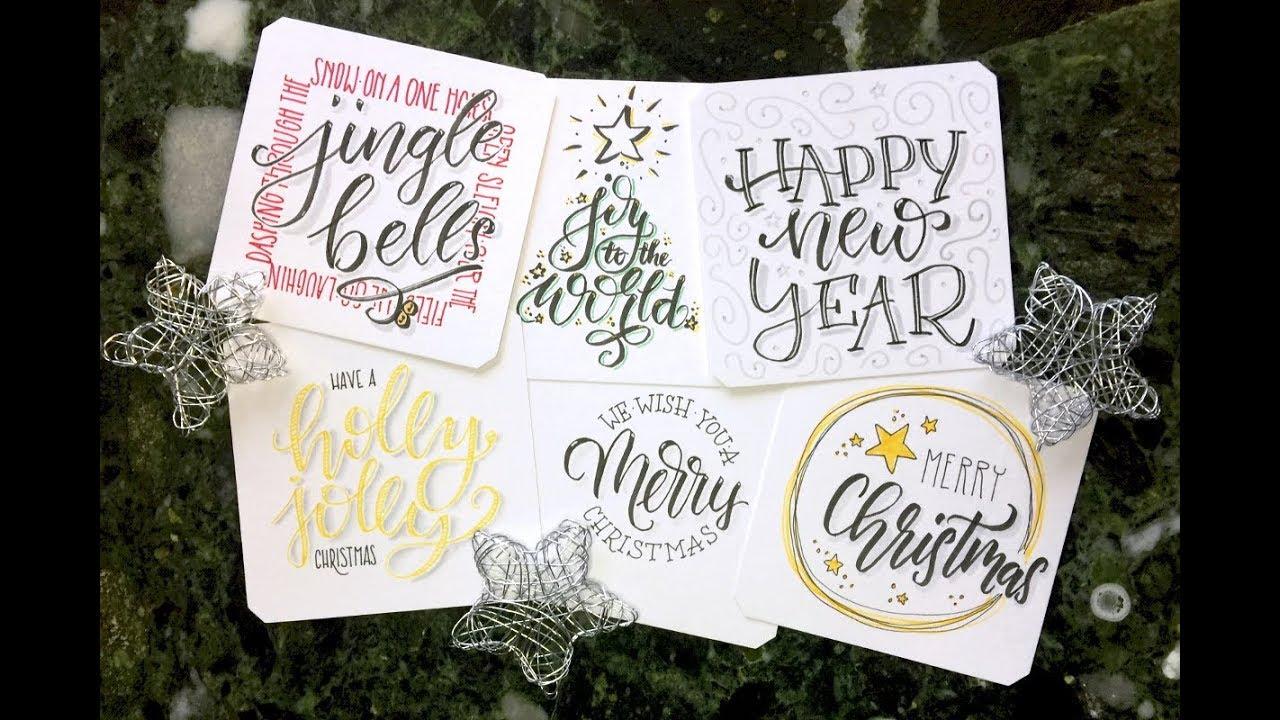 6 x weihnachtskarten handlettering im zeitraffer