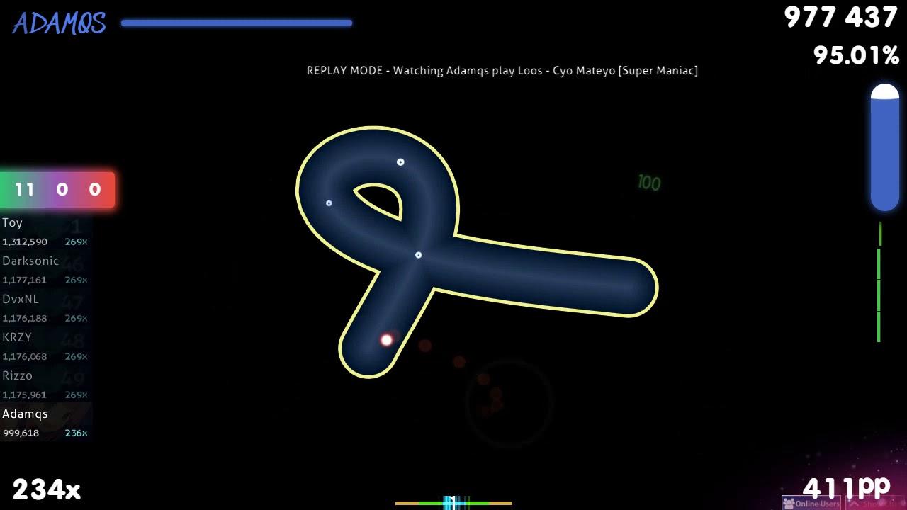 [2010map | 396bpm] Adamqs | Loos - Cyo Mateyo [Super Maniac] 1st +HDDTHR FC  95 29% {#1 452pp FC}