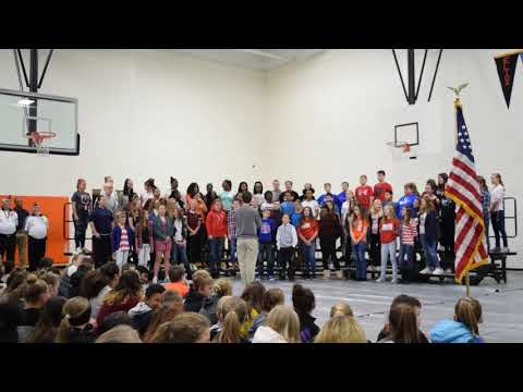 Elida Middle School choir and band perform Patriots Medley