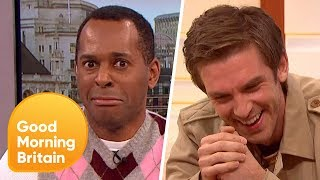 dan stevens gets caught up in a very awkward moment good morning britain