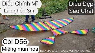 Bay Diều Chính Mĩ 3m Lắp Ghép 7 màu cùng bộ Còi D56 ( Miệng gỗ Mun Hoa ) Cực Kì Chất #Kite-Art-Drop