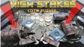 "I WON $120 on a ""HIGH RISK"" Coin Pusher!!"