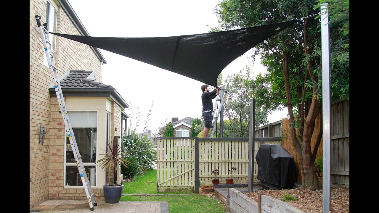 how to install a coolaroo shade sail youtube