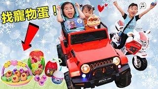 找玩具寵物蛋!兒童電動車和機車 到戶外探險找驚喜蛋!好好玩喔~可愛玩具開箱!(中英文字幕)Looking For Hachimals Eggs By Jo Channel(Subtitle) thumbnail