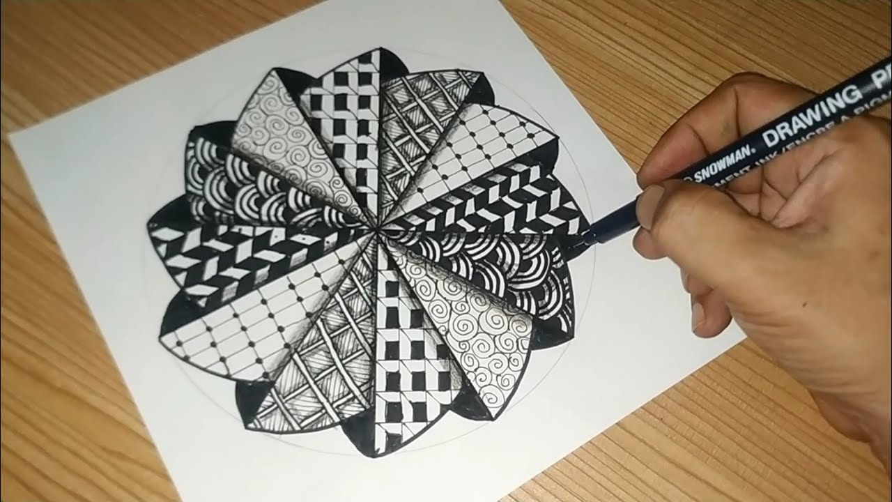 Download Drawing Zentangle with a striped circle Pattern | My Project #029