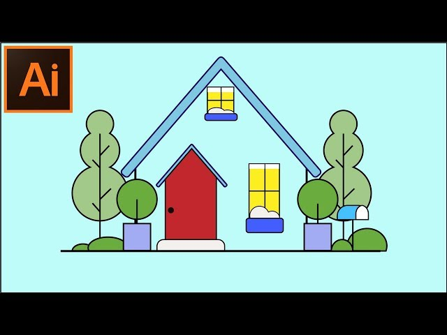Adobe Illustrator CC Tutorials -- How to Create a Home Illustration