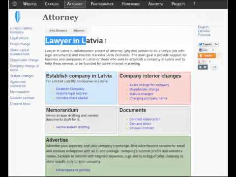 "1 Minute in SEO - Google 1st ranking with keyword ""Lawyer in Latvia"""