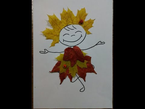 Как сделать девочку из листьев