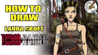 How to draw Laura Croft (from Tomb Raider) easy step by step narrated tutorial