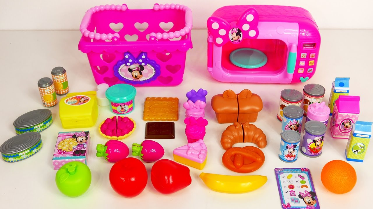 New Minnie Mouse Toys Part - 17: Minnie Mouse Playset Disney Toys for Kids Microwave and Play Food  Compilation