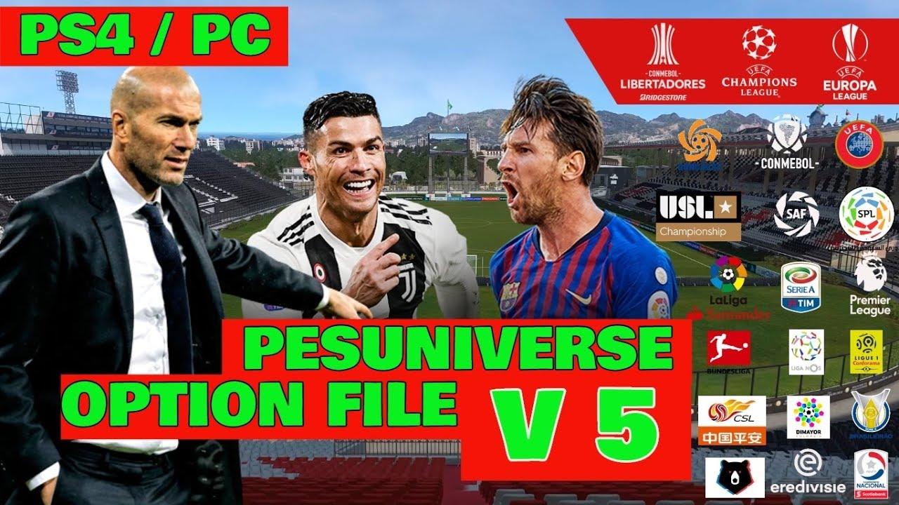 OPTION FILE PES 2019 PS4 PC INSTALACION V5 PESUNIVERSE