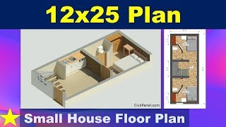 12 X 25 House Plan- Small House Floor Plan Design Hindi